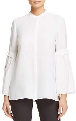 Lafayette 148 New York Roanna Silk Drawstring-Sleeve Blouse
