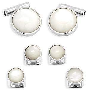 Cufflinks Inc. Cufflinks, Inc. Men's Ox & Bull Trading Co. 6-Piece Sterling Silver & Mother-Of-Pearl Cufflinks & Studs Set