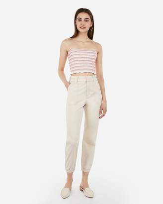 Express Embroidered Smocked Cropped Tube Top