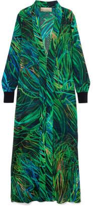 Elie Saab Printed Silk-blend Georgette Jacket - Green