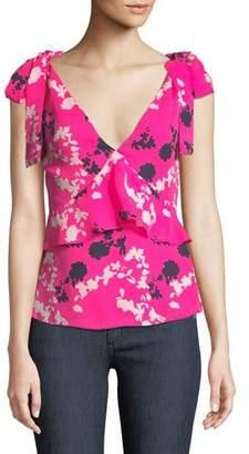 Tanya Taylor Sierra Floral Silk V-Neck Top