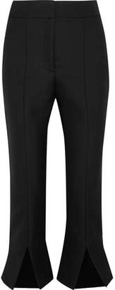 Le Corsaire Fendu Cropped Wool And Cotton-blend Flared Pants - Black