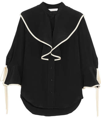 Chloé Ruffled Silk Crepe De Chine Blouse - Black