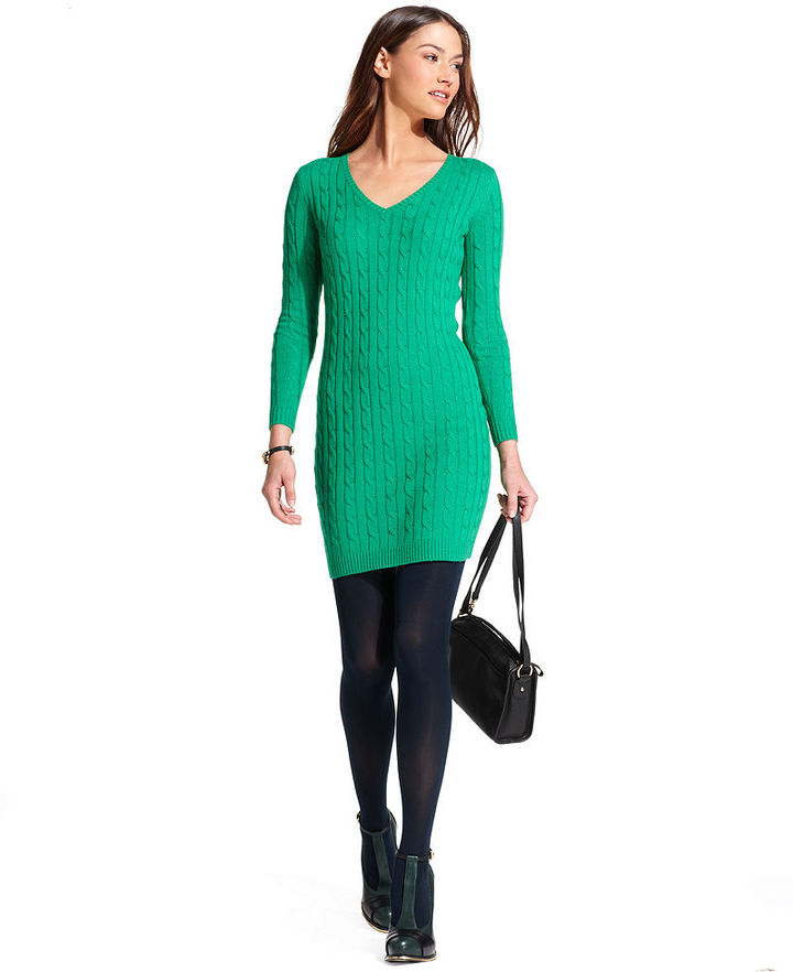 Tommy Hilfiger Long-Sleeve Cable-Knit Sweater Dress