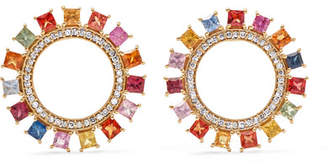 Ileana Makri Sun 18-karat Gold, Diamond And Sapphire Earrings