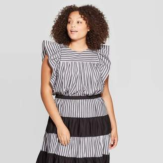 Who What Wear Women's Plus Size Striped Short Ruffle Sleeve Scoop Neck Baby Doll Top Black
