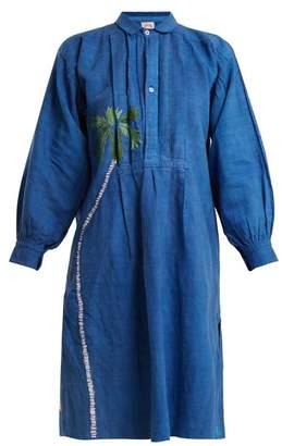 Kilometre Paris - Fisher Island Embroidered Linen Shirtdress - Womens - Blue Multi