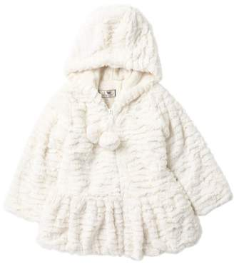 WIDGEON Hooded Faux Fur Pompom Coat (Toddler & Little Girls)