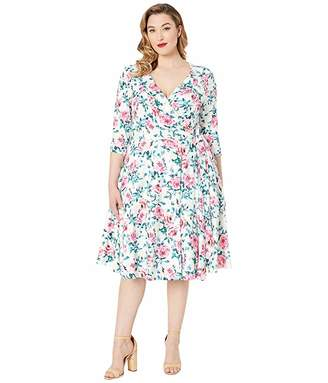 Unique Vintage Plus Size 1940s Style Print Kelsie Wrap Dress