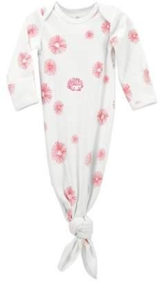 Oliver & Rain Large Scale Floral Print Long Sleeve Adjustable Knot Baby Gown (Baby Girls)