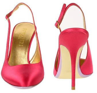 Forzieri Magenta Satin and Leather Slingback Evening Pump Shoes