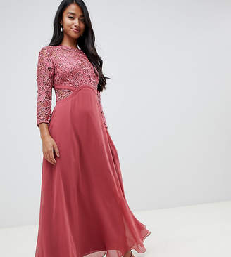 Little Mistress Petite lace top maxi dress in rose