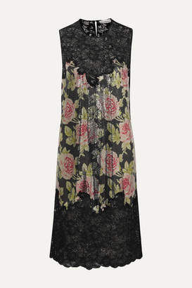 Paco Rabanne Floral-print Chainmail And Corded Lace Dress - Black