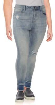 Seven7 Plus Distressed Skinny Jeans