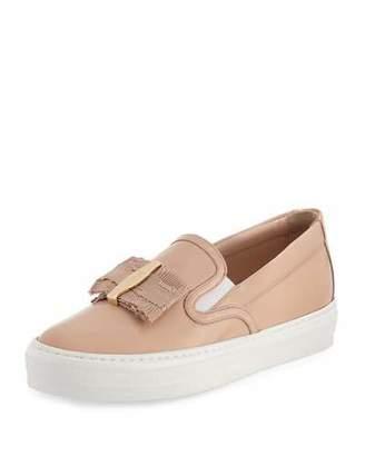 Salvatore Ferragamo Pacau Gros Bow Slip-On Sneaker, New Bisque $475 thestylecure.com