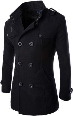 LANBAOSI Men's Mid-long Smart Slim Fit Winter Trench Double Breasted Wool Coat