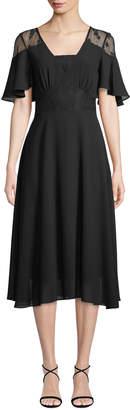 Nanette Lepore Nanette Lace-Flutter Sleeve A-Line Dress