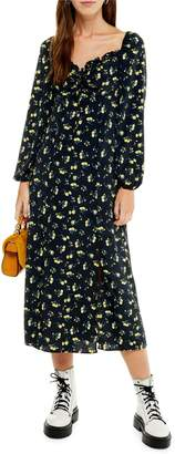 Topshop Floral-Print Square Neck Midi Dress