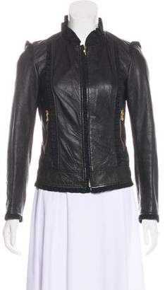 Dolce & Gabbana Leather Ruffle-Trimmed Jacket