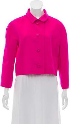 Oscar de la Renta Cropped Pointed Collar Jacket