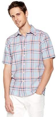 Isle Bay Linens Men's Short Sleeve Plaid Standard Woven Hawaiian Shirt M
