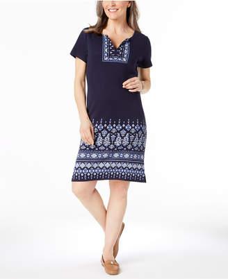 Karen Scott Cotton Puffed-Print Split-Neck Dress, Created for Macy's