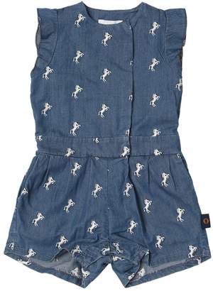 Chloé Horses Embroidered Chambray Romper