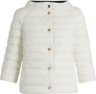 Boat-neck reversible quilted down jacket