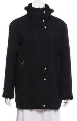 IRO Shearling-Trimmed Wool Coat