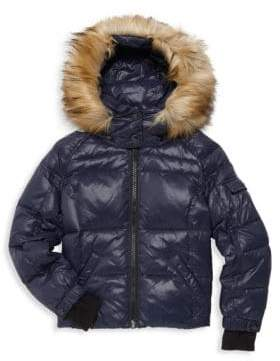S13/Nyc Little Girl's Faux-Fur Trimmed Hooded Puffer Jacket