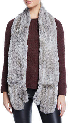 Love Token Rabbit Fur Scarf with Attached Gloves