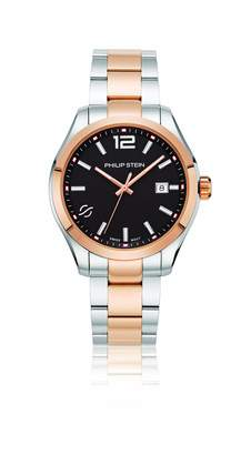 Philip Stein Teslar Men's 'Traveler' Swiss Quartz and Stainless Steel Casual Watch, Color:Two Tone (Model: 92TRG-CBKRG-SSTRG)