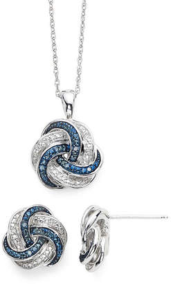 JCPenney FINE JEWELRY 1/10 CT. T.W. White and Color-Enhanced Blue Diamond Love Knot Pendant 2-pc. Set
