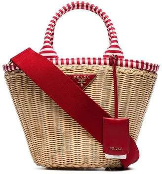 Prada beige, white and red middolino straw basket bag