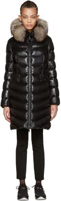 Moncler Black Down & Fur Aphia Coat $1,995 thestylecure.com