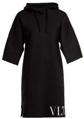 Valentino Hooded Logo Print Dress - Womens - Black