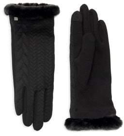 Lauren Ralph Lauren Faux-Fur Trimmed Knit Gloves
