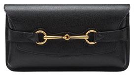 Gucci Bright Bit Calfskin Leather Clutch Bag, Nero