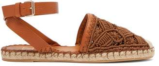 Valentino Marrakech Macrame And Leather Espadrilles - Womens - Tan