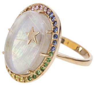 Andrea Fohrman Large Mother Of Pearl And Sapphire Galaxy Ring