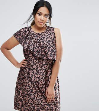 Asos Animal Jacquard Ruffle Mini Dress