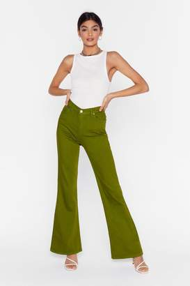 Nasty Gal Womens As If We Flare High-Waisted Denim Jeans - Green - 6
