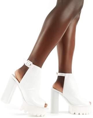 64d7b30e9 Public Desire Jada Cleated Platform Block Heels Croc