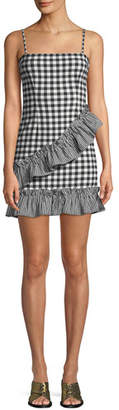 Lovers And Friends Gabby Sleeveless Gingham-Print Ruffle Short Dress