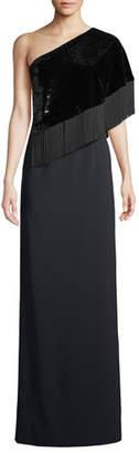 Sachin + Babi Kezia 1-Shoulder Sequin & Fringe Gown