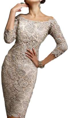 Honey Qiao Sheath Lace Mother The Bride Groom Dresses 3/4 Long Sleeves