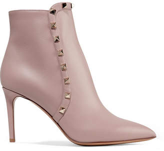 Valentino Garavani Studded Leather Ankle Boots - Baby pink