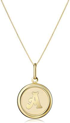 """14k Yellow Initial""""E"""" Pendant Necklace"""