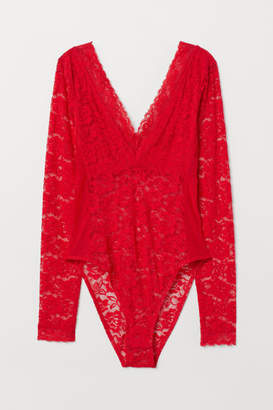 H&M Long-sleeved Lace Bodysuit - Red