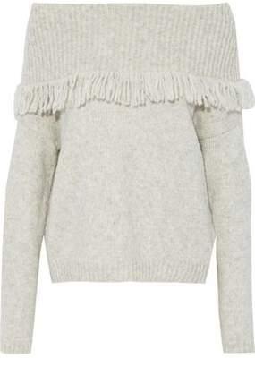 Line Off-The-Shoulder Fringed Marled Stretch-Knit Sweater